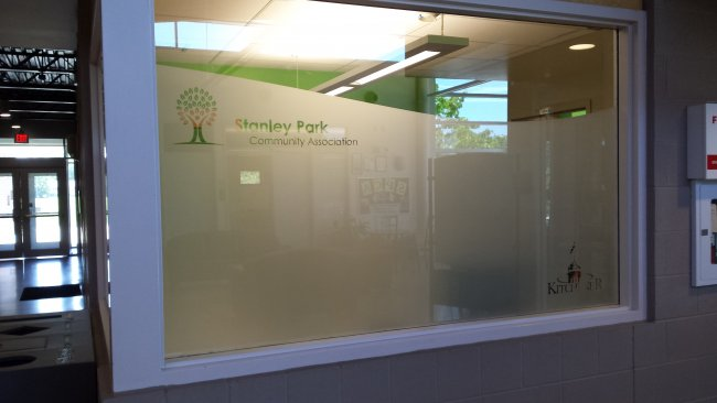 Stanley Park Community Centre custom frosted privacy graphic