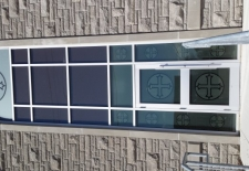 Frosted cut graphics on church exterior glass